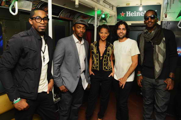 Chris Smith, Anthony Mackie, Denise Vasi, Adrian Grenier and J.R. Smith crack the case 6