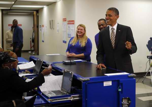 Barack Obama voting 1
