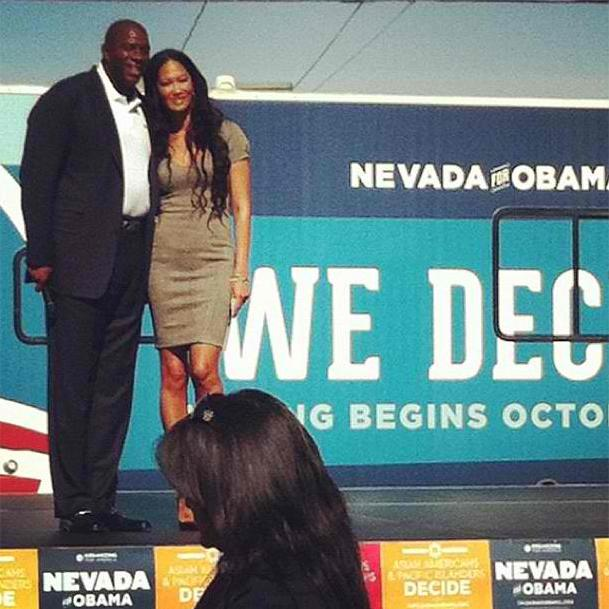 Kimora Lee Simmons and Magic johnson campaign in Nevada