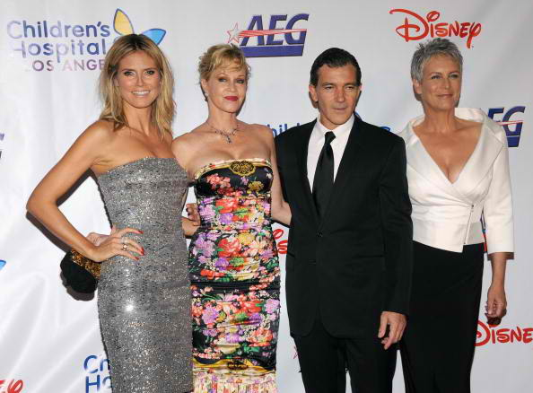 (L-R) Project Runway host Heidi Klum, actress Melanie Griffith, actor Antonio Banderas and actress Jamie Lee Curtis