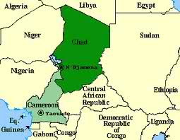 Map of Chad and Cameroon