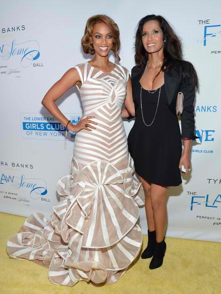 Models and television personalities Tyra Banks (L) and Padma Lakshmi