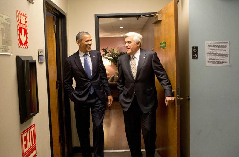President Obama and Jay Leno backstage 1
