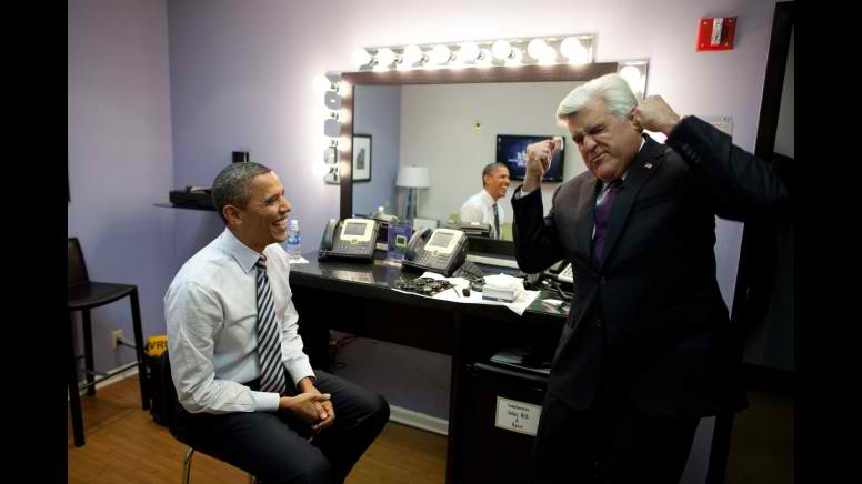 President Obama and Jay Leno backstage 2