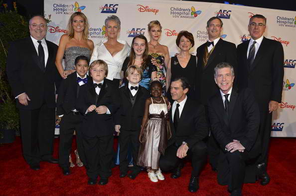 Project Runway host Heidi Klum, Actress Jamie Lee Curtis, Actress Melanie Griffith, Host Tom Bergeron, Actor Antonio Banderas, Trustees and the patients