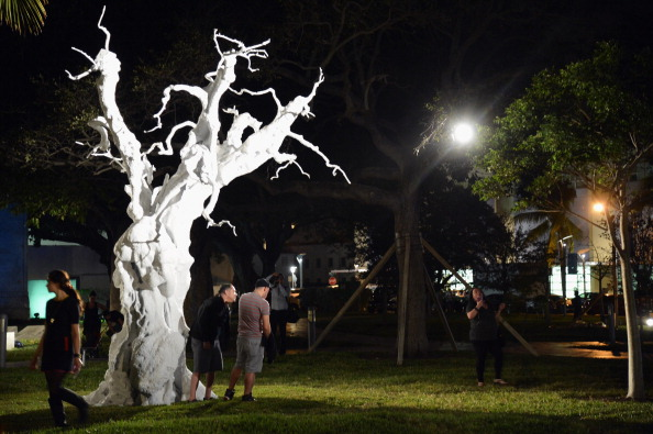 A general view of works on display at Art Public during Art Basel