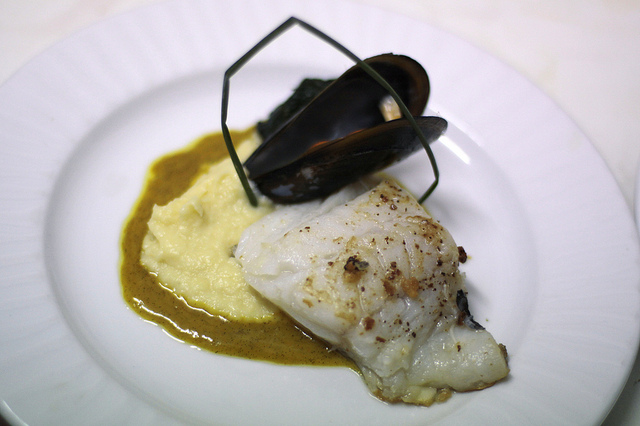 Cod with parsnip aji puree, meyer lemons and asparagus comodo