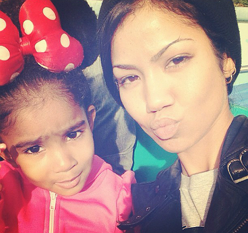Jhene Aiko and daughter Namiko Disney Xmas 2012 2
