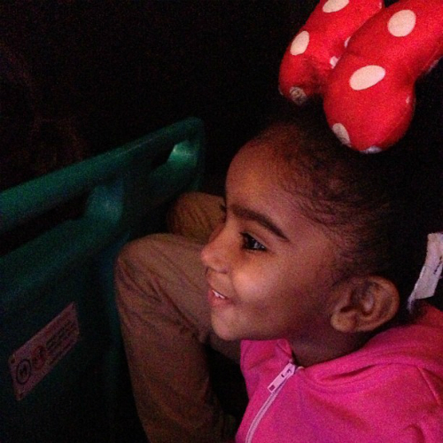 Jhene Aiko and daughter Namiko Disney Xmas 2012 3