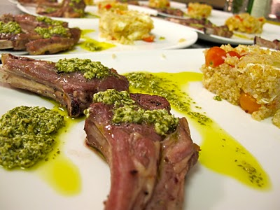 Lamb chops with mint goat cheese pesto comodo