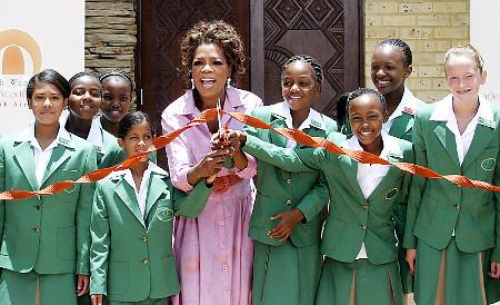 Oprah Winfrey and girls at Acadamy School in South Africa