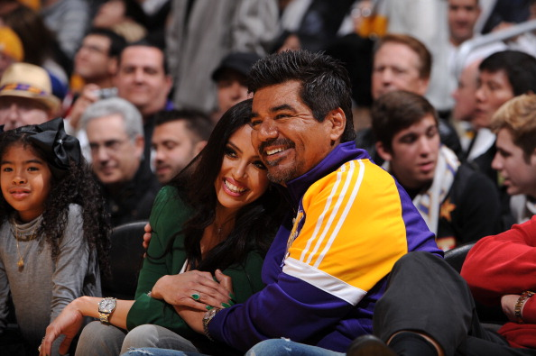 Vanessa Bryant and George Lopez at New York Knicks v Los Angeles Lakers game Xmas 2012