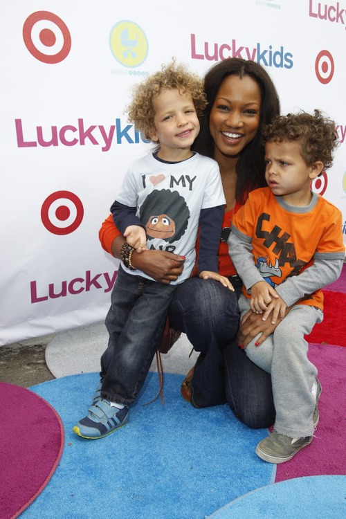 Garcelle Beauvais and twin sons attend Lucky Magazine Celebrates The Launch Of Lucky Kids Magazine