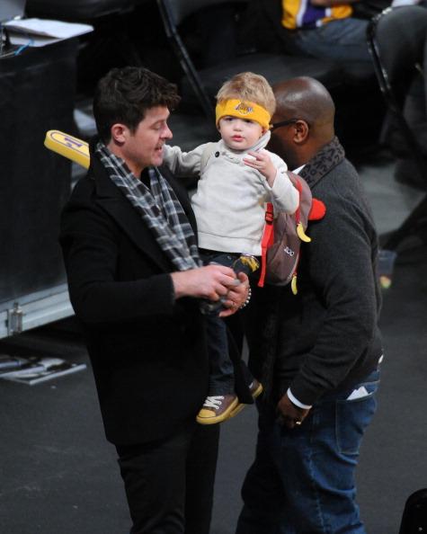 Robin Thick and son Julian Fuego at Lakers Game Jan 11 2013 2