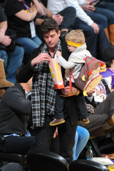 Robin Thick and son Julian Fuego at Lakers Game Jan 11 2013 3