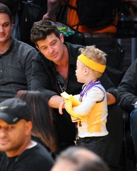 Robin Thick and son Julian Fuego at Lakers Game Jan 11 2013 4