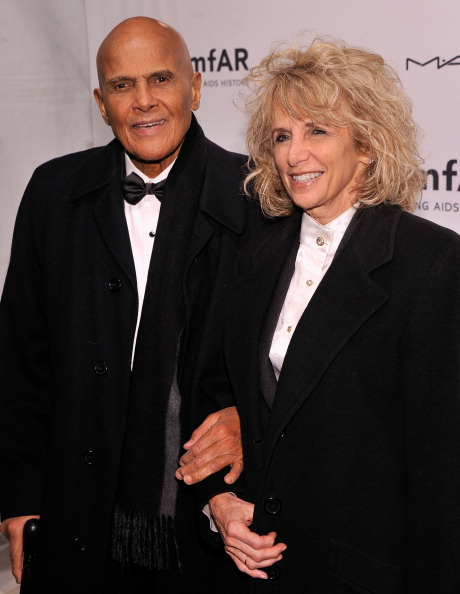 Harry Belafonte and wife Pamela Frank at amfAR New York Gala 2013