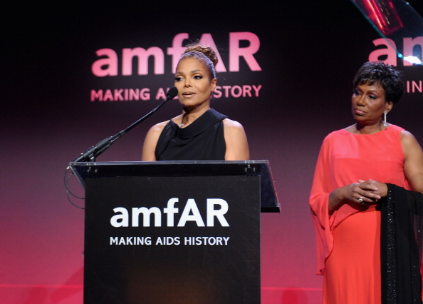 Janet Jacksona and Maria Davis at amfAR New York Gala 2013