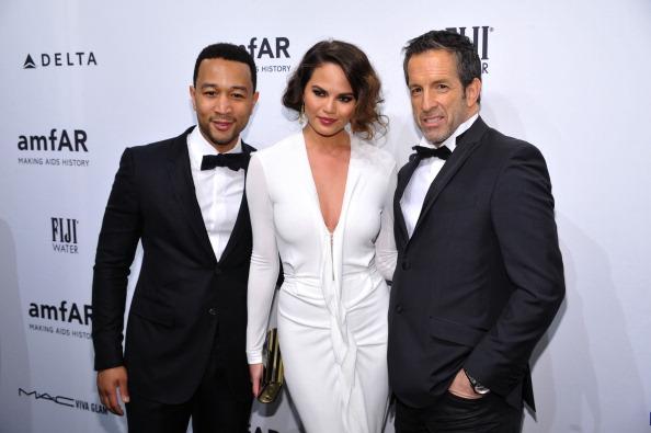 John Legend, Chrissy Teigen and Kenneth Cole at amfAR New York Gala 2013