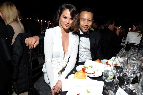 John Legend and Chrissy Teigen at amfAR New York Gala 2013