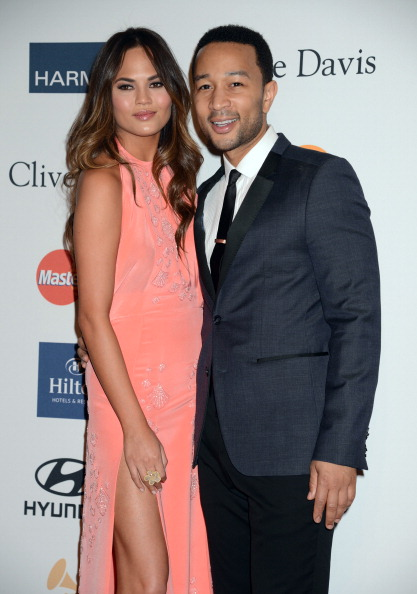 John Legend and Chrissy Teigen at Clive Davis And The Recording Academy's 2013 GRAMMY Salute To Industry Icons Gala